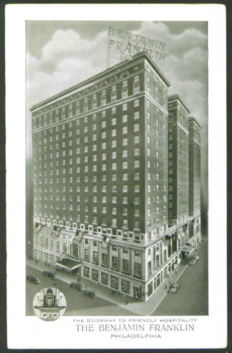 Benjamin Franklin Hotel Philadelphia PA postcard 1930s
