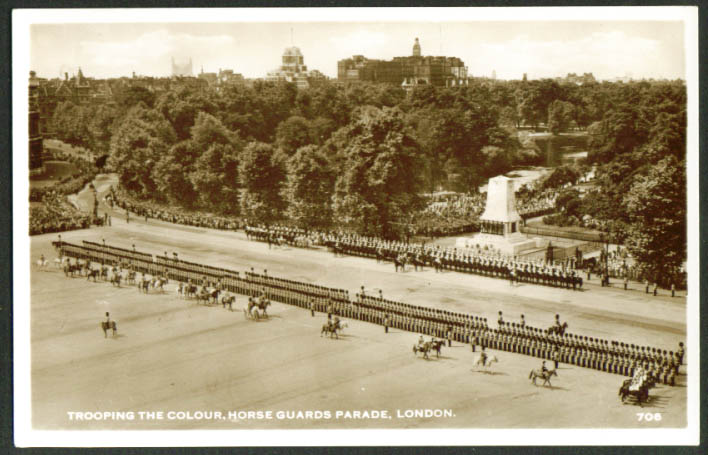 Trooping the colour Horse Guards Parade London RPPC postcard 1930s
