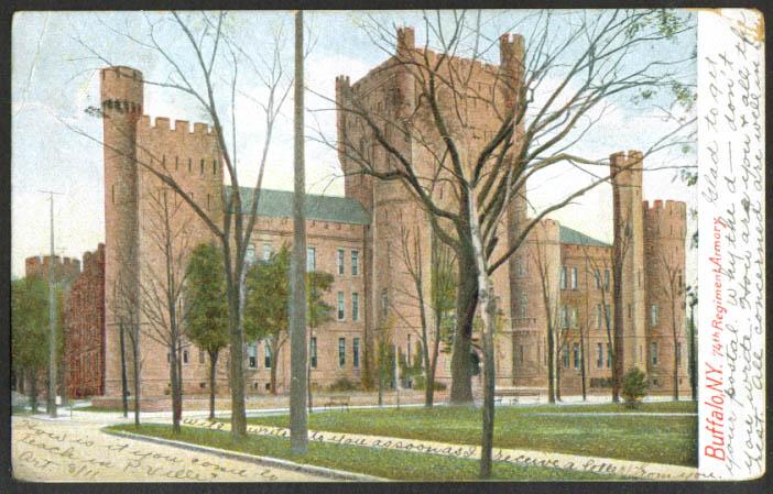 7th Regiment Armory Buffalo NY undivided back postcard 1906