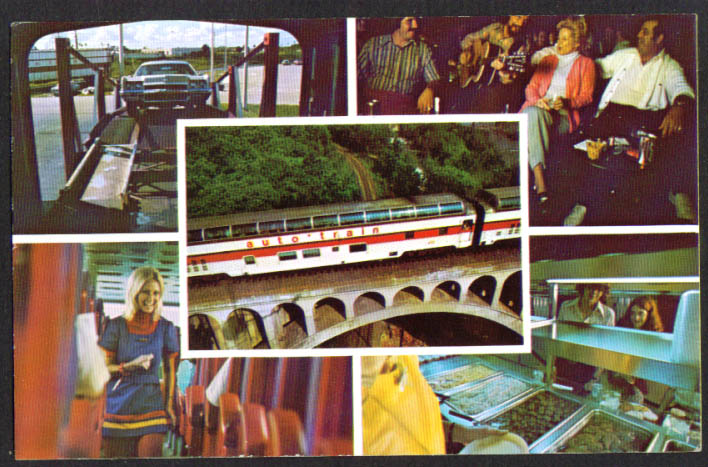 Auto-Train to Florida from DC or KY 5-view postcard 1970s