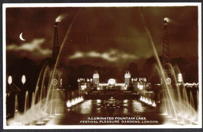 Lake in Pleasure Gardens Battersee Park UK RPPC 1951