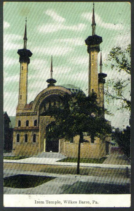 Irem Temple Wilkes-Barre PA postcard 1910
