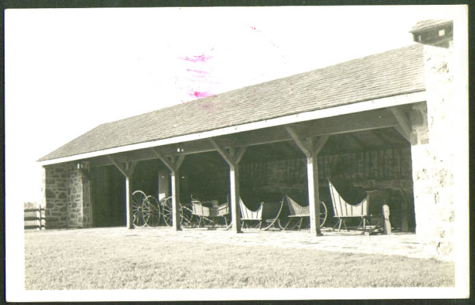 Sleigh Barn Landis Valley Museum Lancaster PA RPPC 1950s