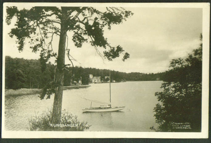 Sailboat at anchor Kungsangen Sweden RPPC 1912?