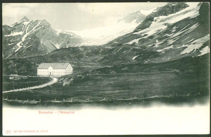 L'Hospice at Simplon Switzerland undivided back postcard 1900s
