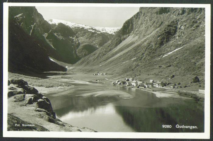 Port of Gudvangen Sognefjord Norway RPPC postcard 1910s