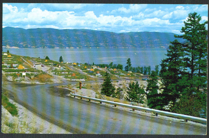 Provincial Camp Site Okanagan Lake BC postcard 1950s