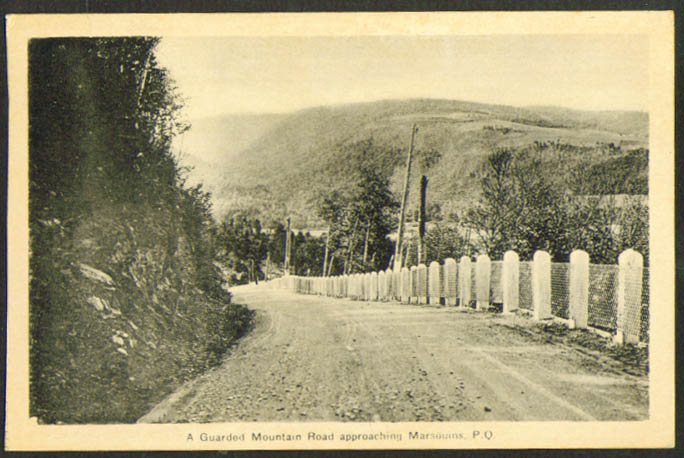 Guarded Mountain Road Marsouins Quebec postcard 1930s