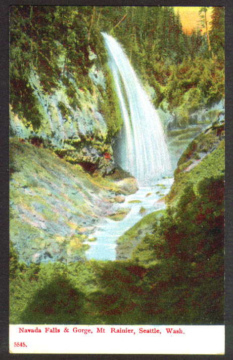 Nevada Falls Gorge Mt Rainier Seattle WA postcard 1910s