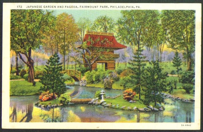 Japanese Pagoda Fairmount Park Philadelphia PA Postcard 1940s