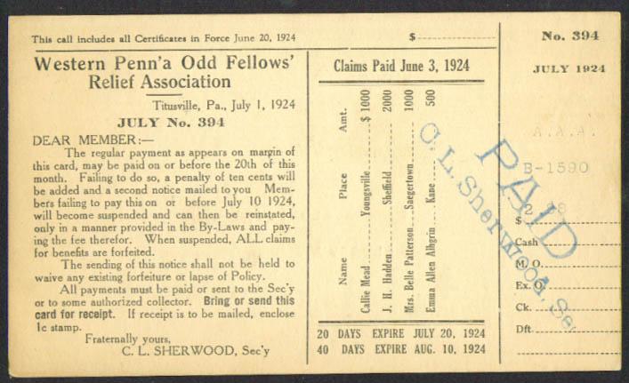 Western Penn Odd Fellows Relief postal card 1924