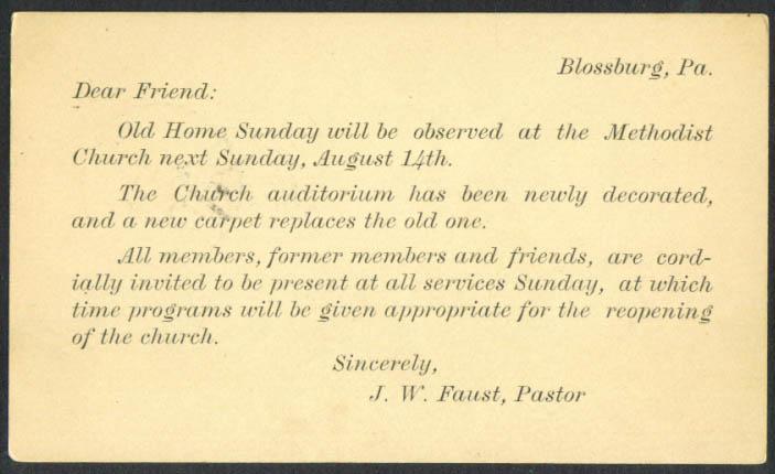 Old Home Sunday Blossburg Methodist PA postal 1927