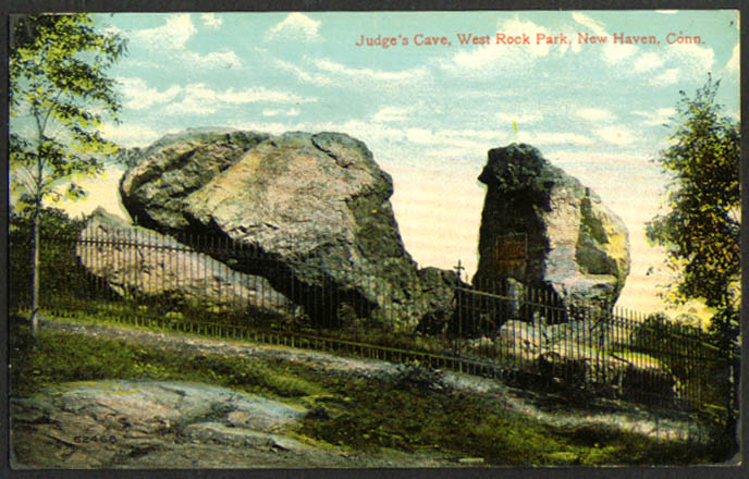 Judge's Cave West Rock Park New Haven CT postcard 1916