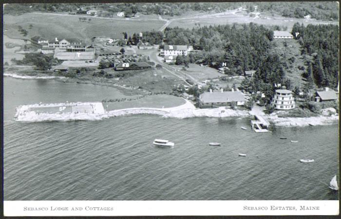 Air View Sebasco Lodge Cottages Estates ME postcard 1940s