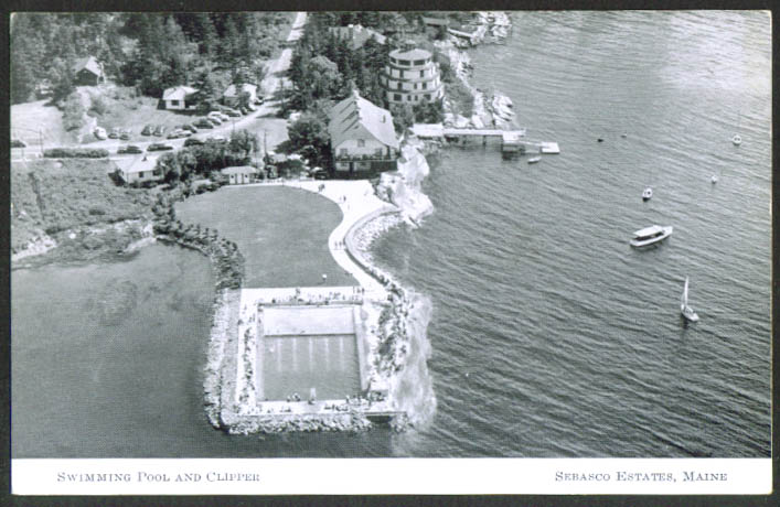 Swimming Pool Lake Sebasco Estates ME postcard 1940s