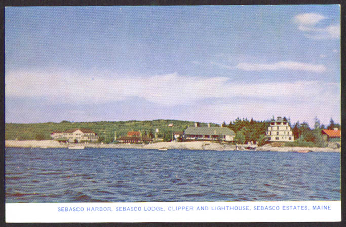 Panorama Sebasco Lodge Harbor Estates ME postcard 1940s