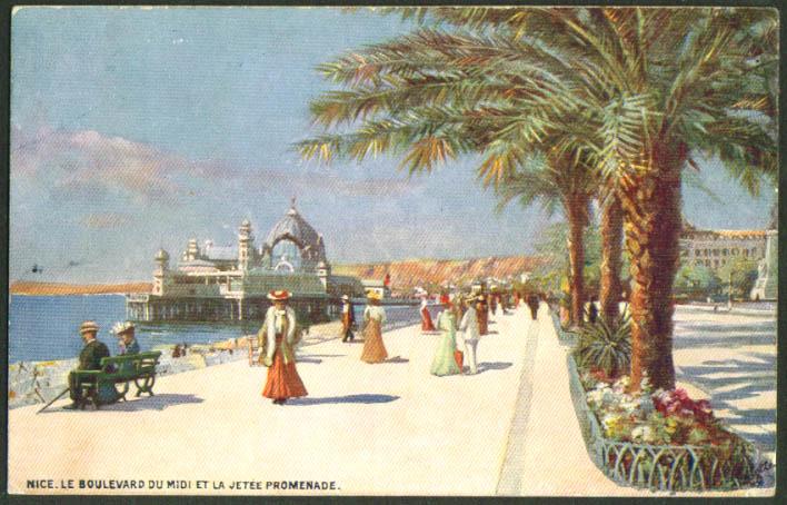 Boulevard Midi Jetee Promendade Nice France postcard 1907