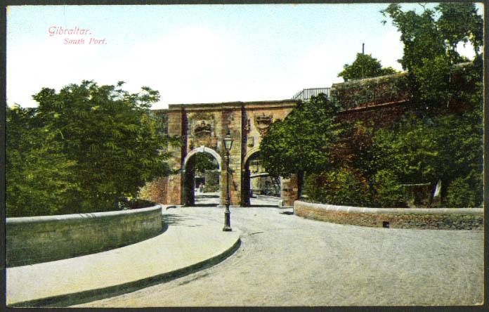 South Port gates Gibraltar postcard 1910s