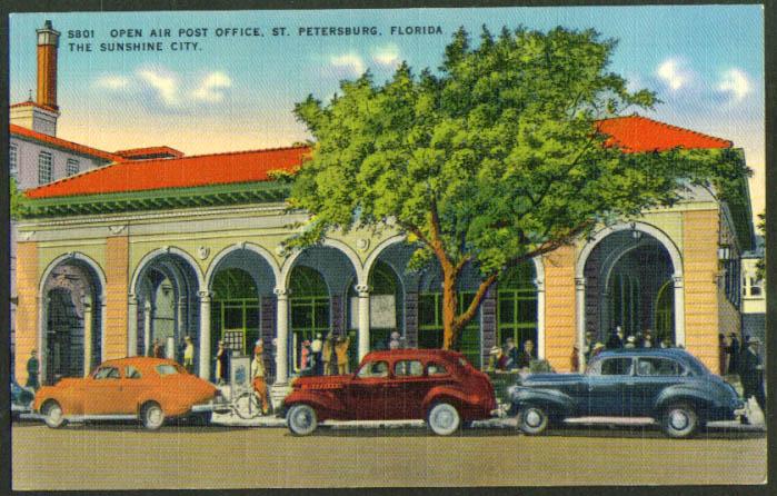 Open Air Post Office St petersburg FL postcard 1940s