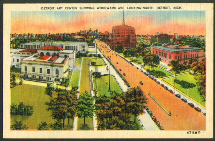 Art Center on Woodward Av Detroit MI postcard 1940s