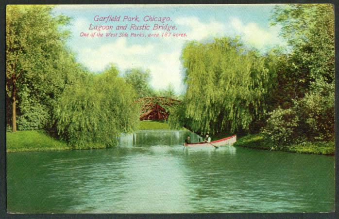 Rowboat Garfield Park Lagoon Chicago IL postcard 1910s