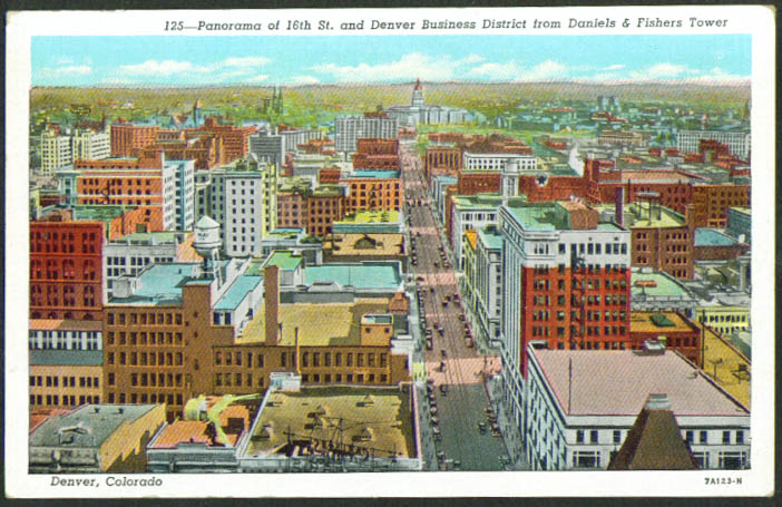 View from Daniels & Fishers Tower Denver CO postcard 1910s