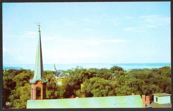 Casco Bay from Portland Observatory ME postcard 1950s
