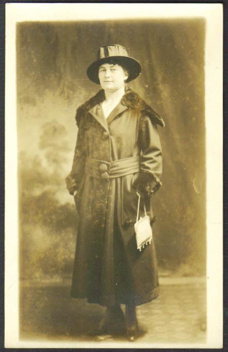Woman fur-trim coat RPPC postcard Hartford CT Stoddard? 1910s