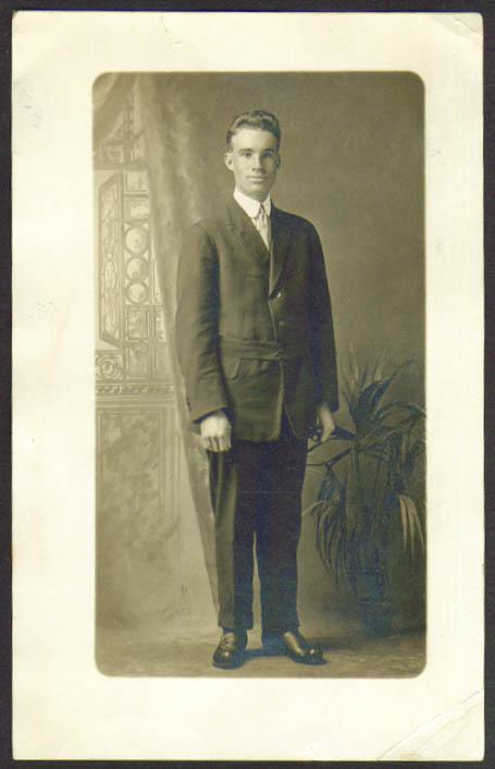 Long-faced man odd coat RPPC G E Stoddard? Hartford CT