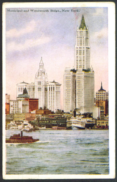 Municipal & Woolworth Buildings New York City postcard 1926