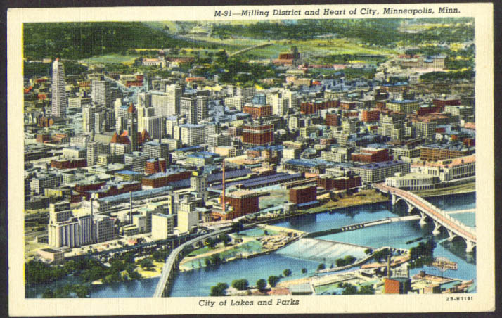 Milling District & Downtown Minenapolis MN postcard 1940s