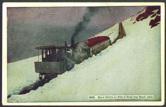 Snow drift Pike's Peak Cog Railway CO postcard 1910s