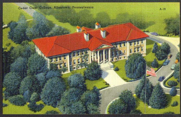 Cedar Crest College Allentown PA postcard 1940s