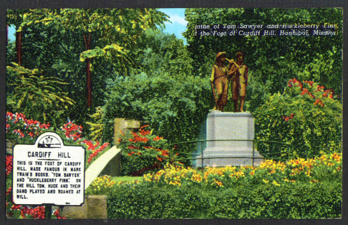Tom & Huck Cardiff Hill Hannibal MO postcard 1940s