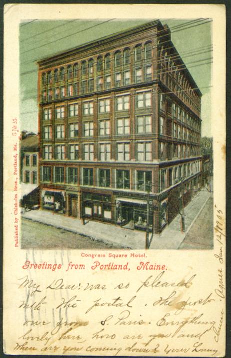 Congress Square Hotel Portland ME postcard 1905