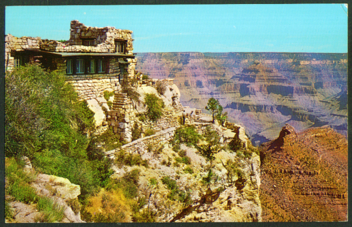 Lookout Studio Grand Canyon National Park postcard 1950s