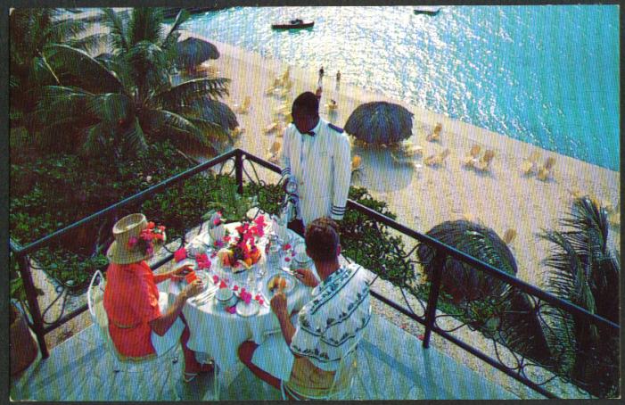 Porch Montego Beach Hotel Jamaica BWI postcard 1950s