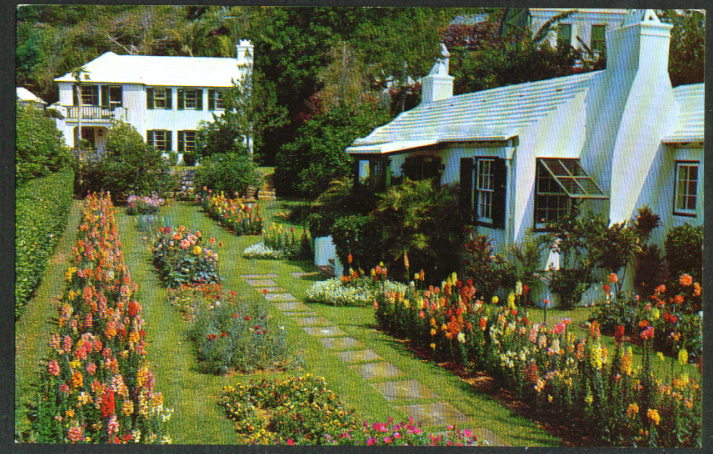 Private Home & Garden on Bermuda postcard 1950s