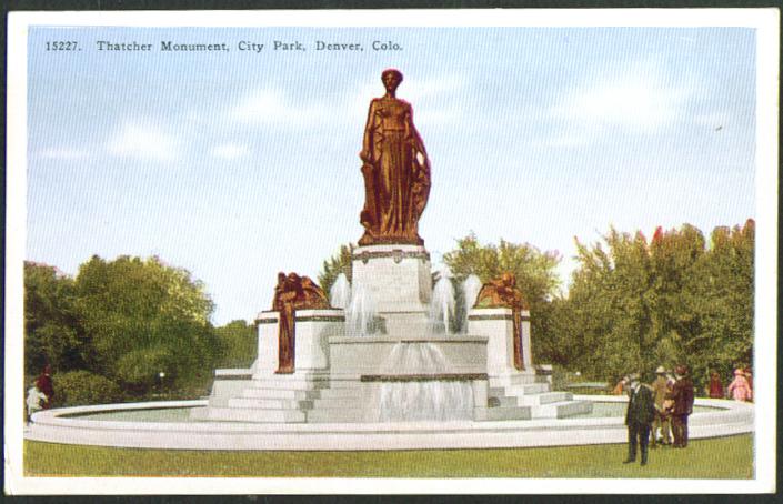 Thatcher Monument City Park Denver CO postcard 1910s