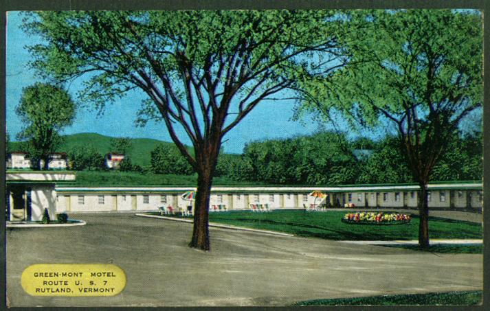 Image for Greenmont Motel Route 7 Rutland VT postcard 1950s