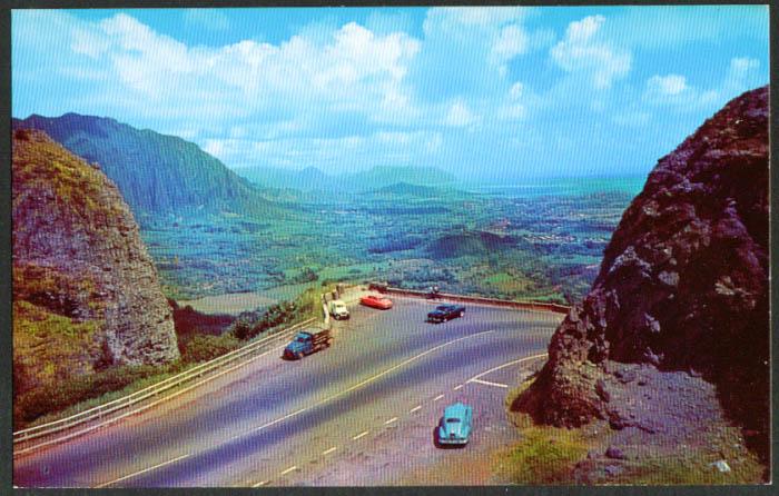 Nuuanu Palu from Lookout Oahu HI postcard 1950s