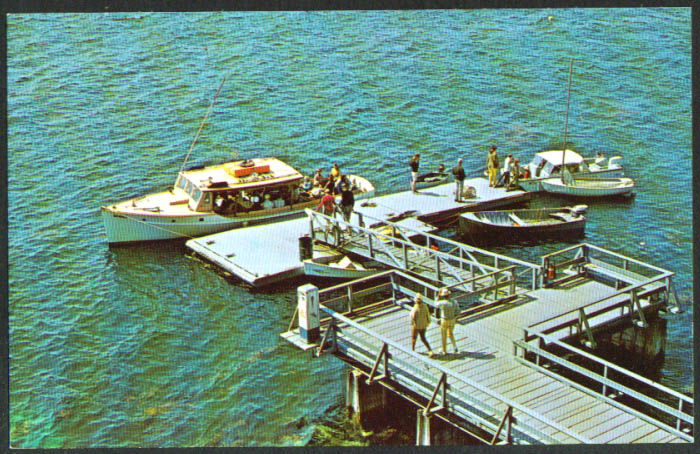 Waterfront boat dock Sebasco Estates ME postcard 1950s