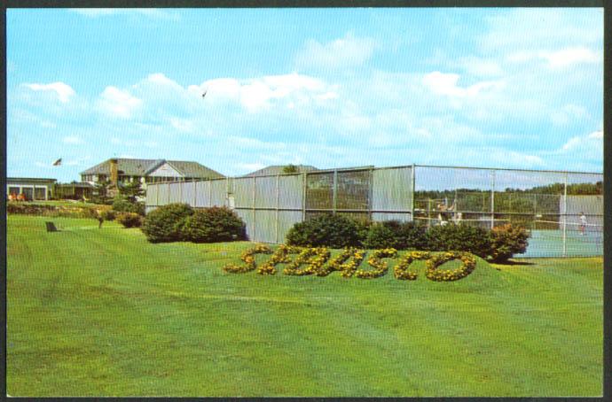 Tennis courts Sebasco Estates Lodge ME postcard 1950s