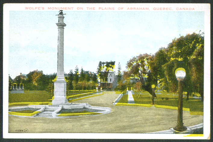 Wolfe's Monument Plains Abraham Quebec postcard 1910s