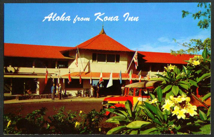 Chevrolet Excusrion Bus Kona Inn HI postcard 1950s