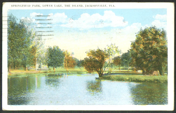 Springfield Park Lower Lake Jacksonville FL postcard 1921