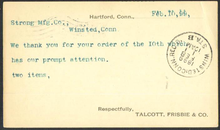 Talcott Frisbie Strong Mfg postal card Hartford CT 1899