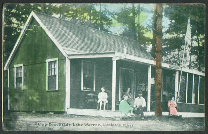 Camp Brookside Lake Warren Littleton MA postcard 1910s