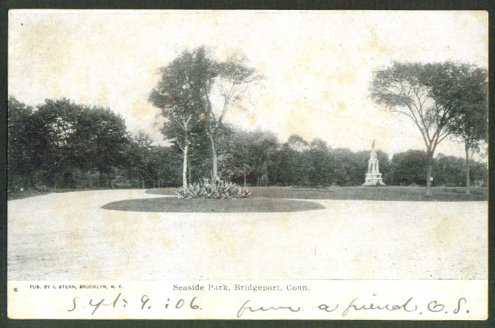 Monument Seaside Park Bridgeport CT undivided back postcard 1906