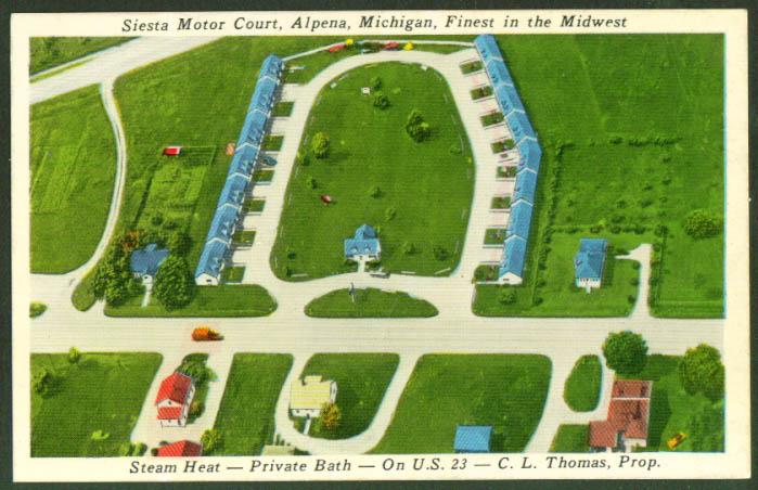 Air View Siesta Motor Court Alpena MI postcard 1950s
